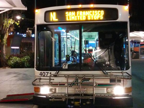 An AC Transit bus with a three-bike rack at the Transbay Terminal in SF. Photo: Kenya Wheeler/Twitter