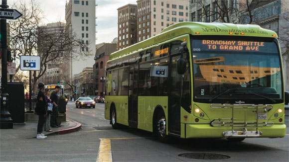 Transit fragmentation can take many forms. Funded and managed by the City of Oakland and operated by AC Transit, the free B shuttle in downtown Oakland was a new transit service added to existing AC Transit and BART services.