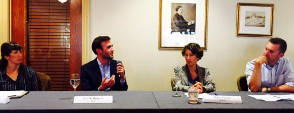 Lyft's Curtis Rogers speaks at a forum hosted by Livable City yesterday. SFMTA's Kate Toran sits to his right. Photo: Folks for Polk/Twitter