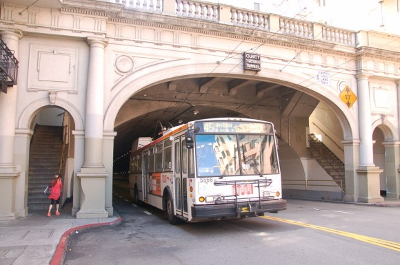 Trolley buses on Muni's 30-Stockton and 45-Union lines run through the Stockton Tunnel, which was originally built primarily for streetcars. Photo: Aaron Bialick