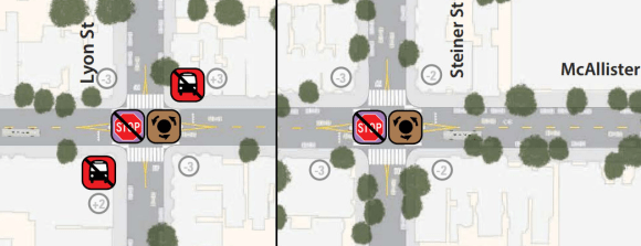 At Lyon and Steiner Streets, traffic circles would replace stop signs, and the Muni stop at Lyon would be removed. Images: SFMTA