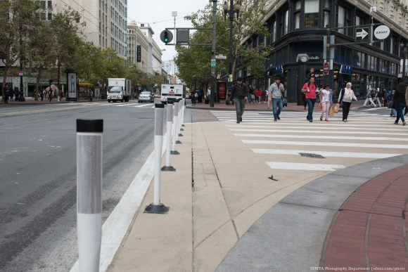 "A ""safety zone"" at Market and Grant Streets. Photo: SFMTA"