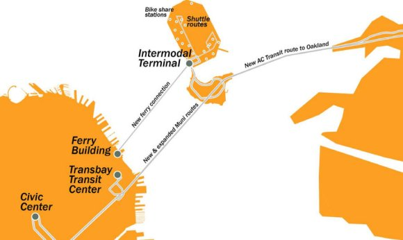 The development of Treasure Island is poised to come with congestion pricing and new transit options to move people without cars. Image: SFCTA