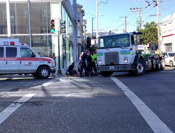 A Recology truck driver hit a woman on bike this morning at 14th and South Van Ness. Photo: Ty Smith/Twitter