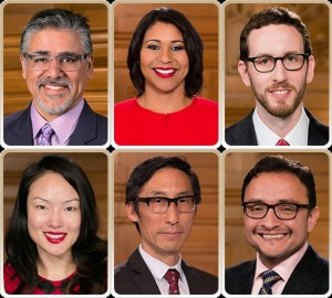 "Supervisors Avalos, Breed, Wiener, Kim, Mar, and Campos have all signed on as sponsors of the ""Bike Yield Law."" Photos: SF Board of Supervisors"