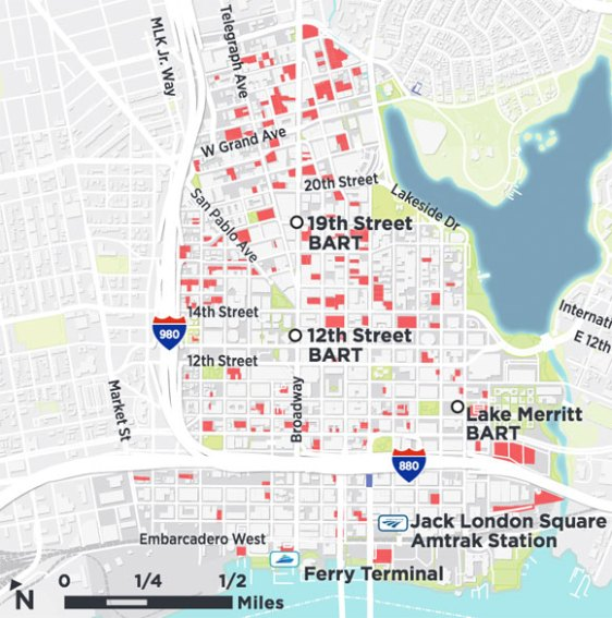 SPUR has identified 40 acres of surface parking lots and vacant parcels in downtown that, under current zoning rules, could accommodate up to 36,000 additional office jobs and 19,000 new residents without displacing existing development.2 Allowing taller buildings could increase the total potential number of jobs and/or residents in downtown.