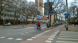 Dutch Streets Segregate Car and Bikes with Curbs, Trees, Buffers and Phased Signals. Photo: Roger Rudick