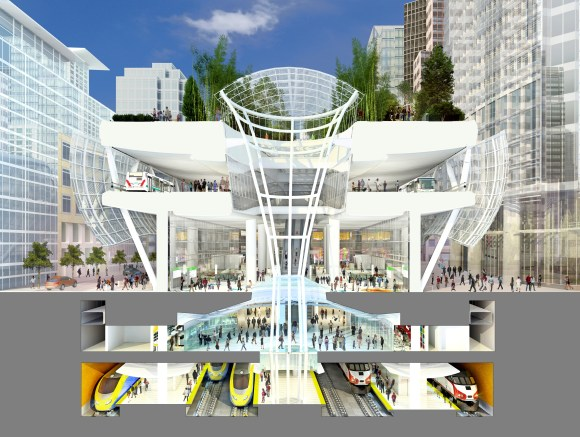 Despite the renderings, the Transbay Transit Center won't have any Trains without a big push by City Hall. Image Source: the Transbay Center website