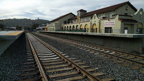 The downtown San Rafael station is all-but complete. Soon, trains will run to here and to Larkspur with a ferry connection to San Francisco. Photo: Roger Rudic