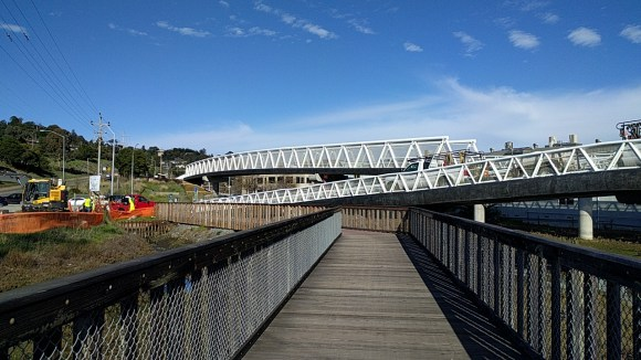 A new bike and pedestrian bridge will make connecting from the train to San Francisco ferry's easier. Photo: Roger Rudick