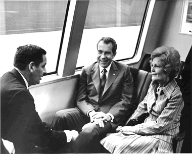 President Nixon and his wife Pat ride BART on opening day. Source: BART.