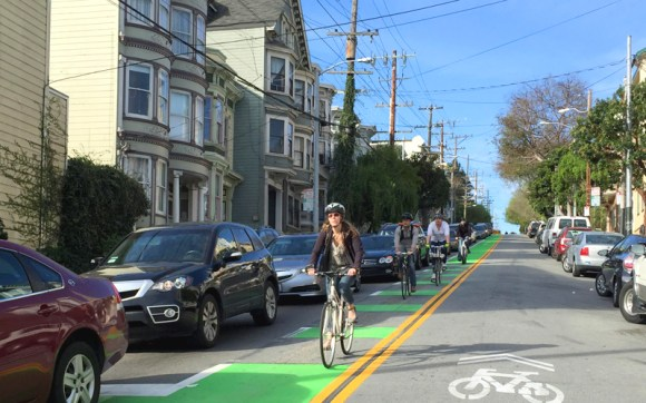 Under previous environmental criteria, even painted bike lanes could trigger expensive and time consuming studies. Photo: San Francisco Bicycle Coalition.