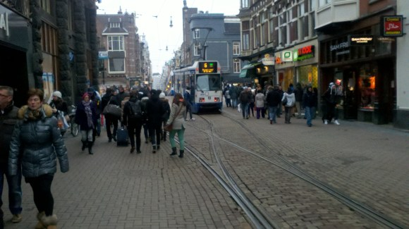 No parking lanes on this shopping street in Amsterdam. In fact, no lanes at all. And yet retail thrives. Photo: Streetsblog.