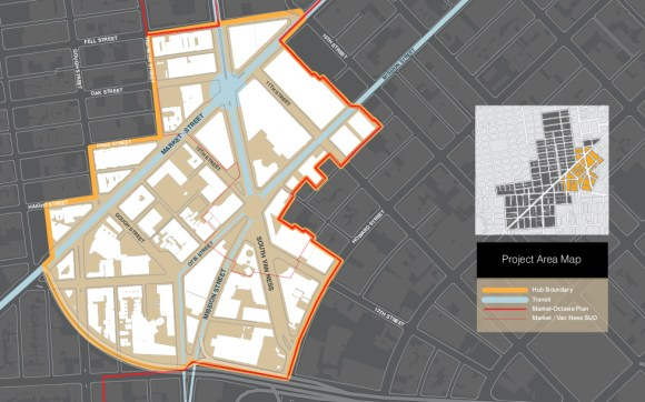Map of the HUB. Image: SF planning department.