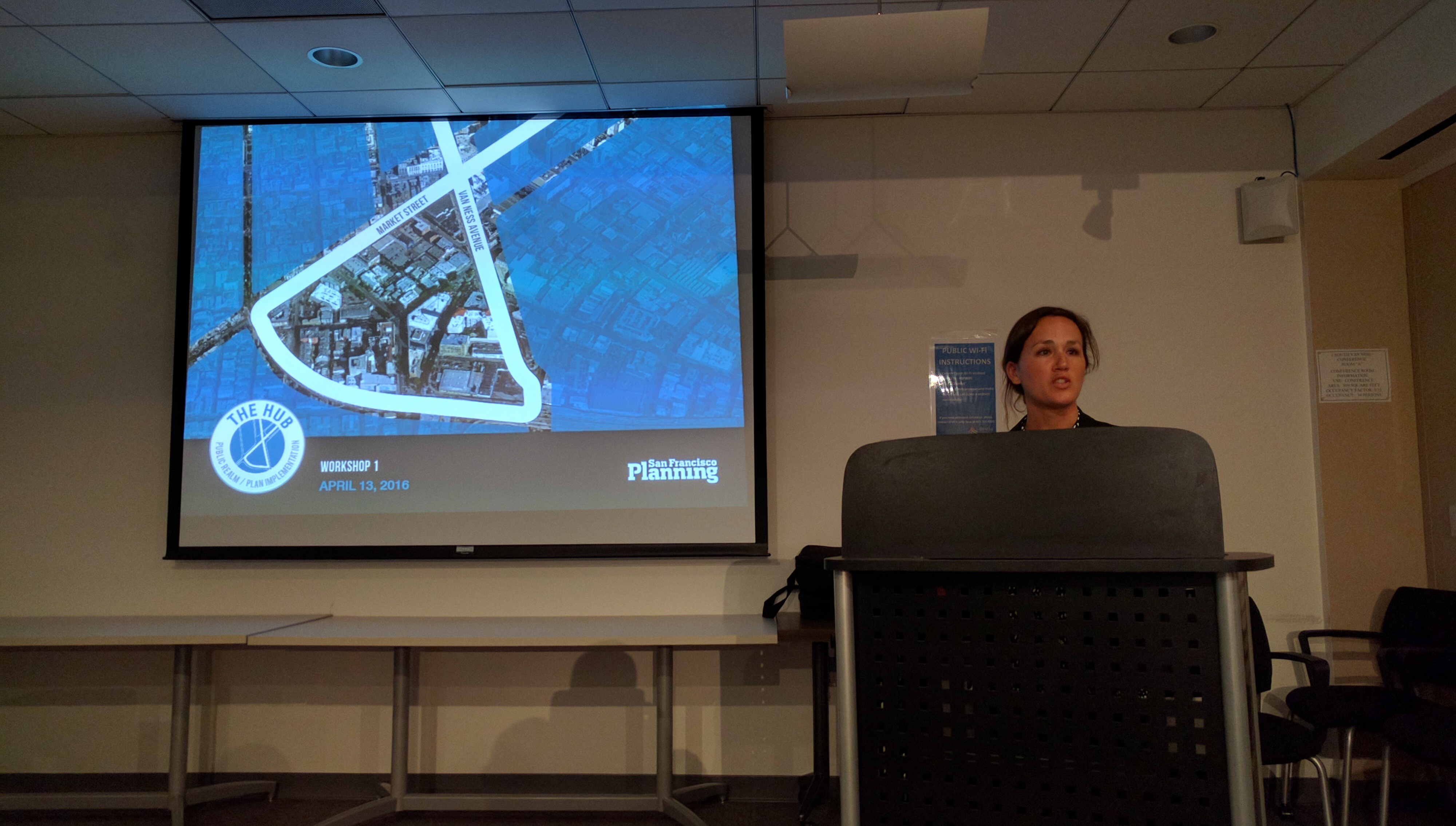 Lily Langlois, SF Planner, brings a packed audience through the city plans. Photo: Streetsblog