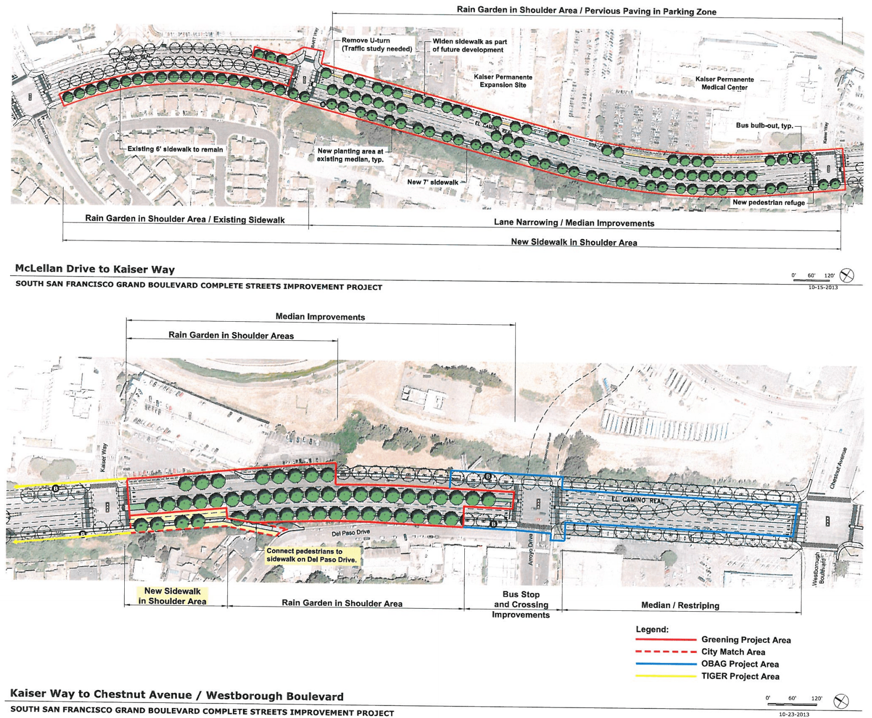 South San Francisco hopes to reconstruct a X-mile segment of El Camino Real with pedestrian safety improvements including wider sidewalks, curb extensions, and pedestrian refuges in widened medians by early 2018. Image: City of South San Francisco.
