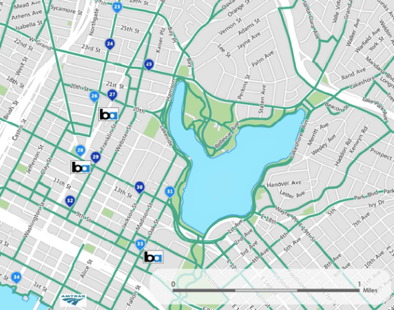 Proposed bike-share stations near downtown Oakland.
