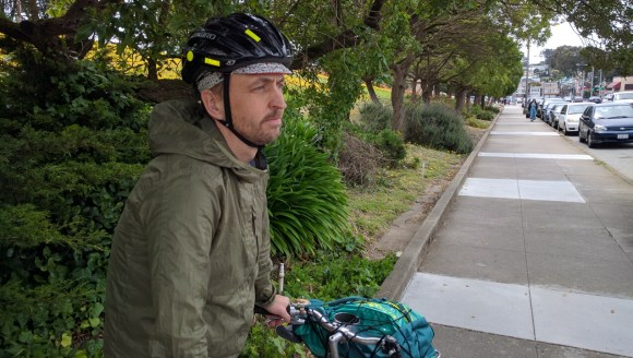 Anthony Ryan near the spot where he was attacked by a raging motorist. Photo: Streetsblog.
