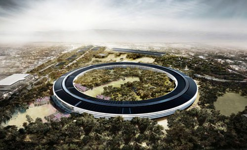 "A rendering of Apple's new ""space ship"" headquarters in Cupertino. From the SPUR presentation."