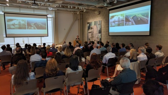 Nataly Gattegno of Future Cities Lab talks about offices and homes built on bridges. Photo: Streetsblog.