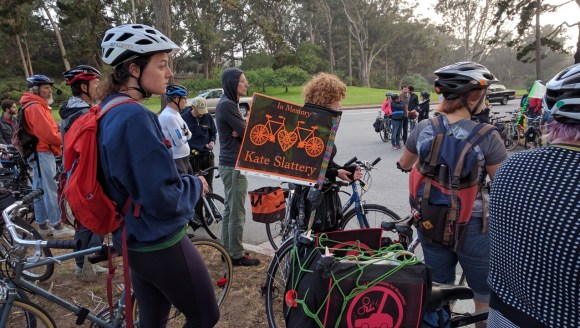 Part of Wednesday night's vigil ride. Photo: Streetsblog.