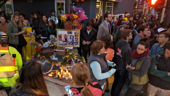People cried and remembered Kate Slattery at her Ghost Bike and Shrine at 7th and Howard. Photo: Streetsblog.