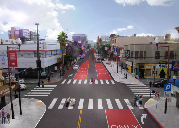 """Red Carpet"" lanes move closer to get removed. Image: SFMTA."