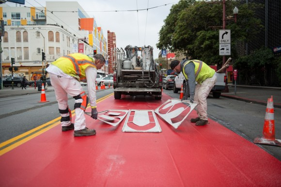 Even though the pain dried only three months ago, there's already talk of removing the bus-only lanes on Mission. Photo: SFMTA.