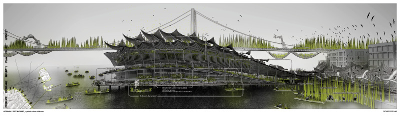 The Hydramax proposal envisions jutting out into the San Francisco Bay. Image: Future Cities Lab.