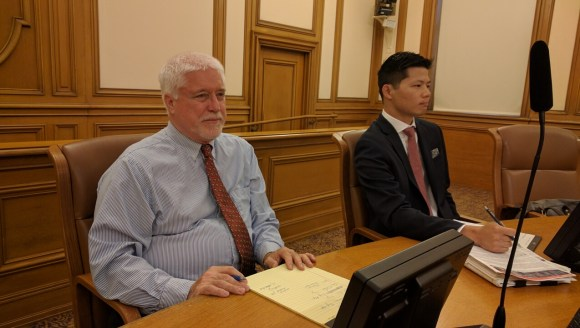 Mike Hanrahan and Robert Lim took comment at the SFMTA's last hearing on the Muni Forward L-Taraval changes. Photo: Streetsblog.