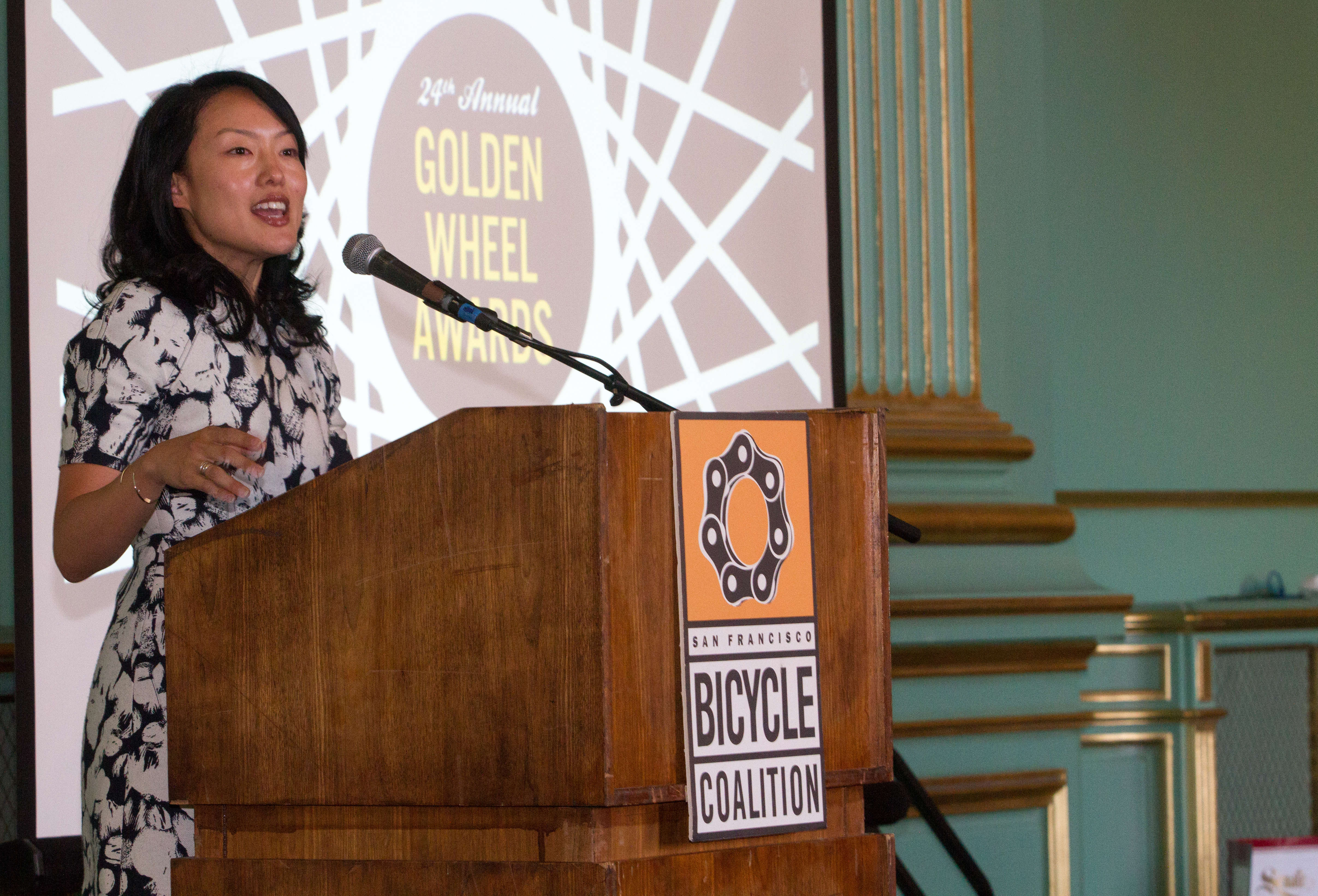 Jane Kim addressing the audience at the Golden Wheel awards. Photo: SFBC.