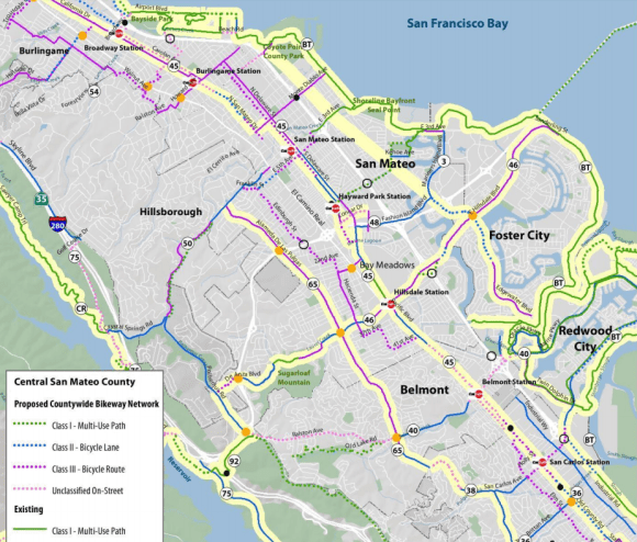 Central San Mateo County's existing regional bikeways remain discontinuous and too challenging for most residents. The new BPAC is tasked with improving such routes. Image: C/CAG