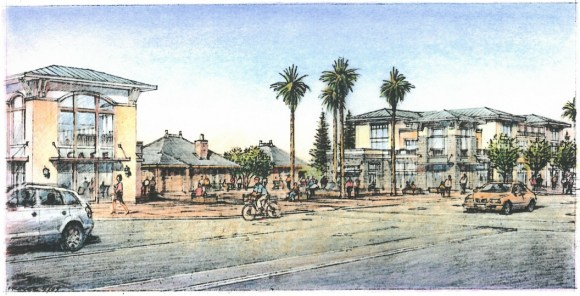 202 housing units are now under construction on Caltrain's former San Carlos Station parking lot. Image: City of San Carlos