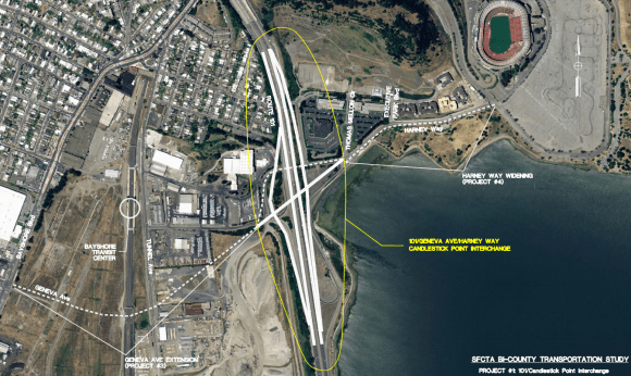 A new 12-lane Highway 101 interchange to accommodate auto traffic planned for the Brisbane Baylands and Candlestick Point developments would cost over $200 million. Image: SFMTA