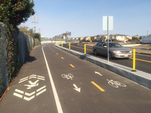 A 15-foot wide path marked for walking and bicycling is under construction on the north side of Chilco Street in Menlo Park. Photo: Andrew Boone
