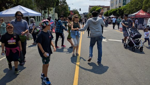 Dancing on Valencia yesterday afternoon during the Sunday Streets event in the Mission. Photo: Streetsblog.