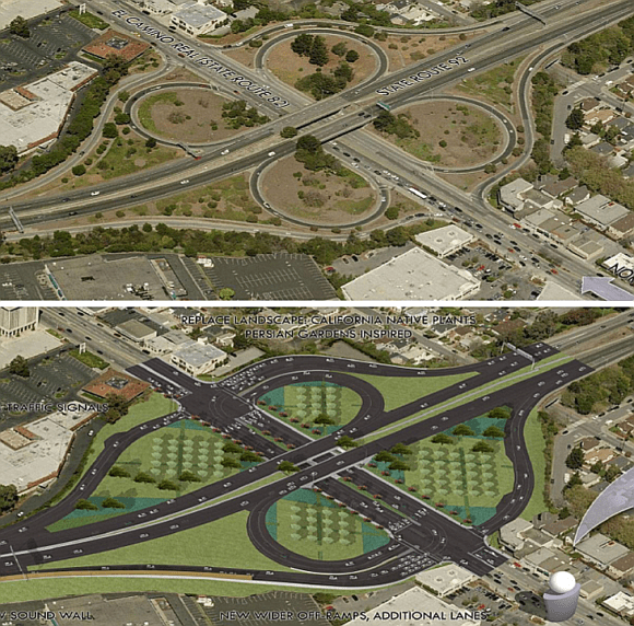 An expanded partial cloverleaf interchange at El Camino Real and Highway 92 (bottom) will allow more car traffic during rush hours compated to today's full cloverleaf (top) Image: Caltrans