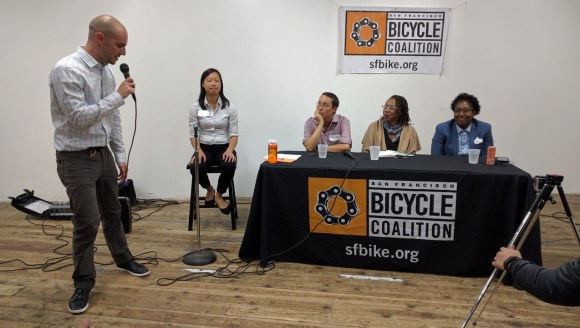 SFBC director Brian Wiedenmeier introduced Janice Li, Renee Rivera, Lateefah Simon and Tamika Butler for a discussion about racial equity in the bike advocacy movement. Photo: Streetsblog.