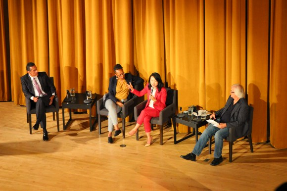 Antonio Villaraigosa, Lateefah Simon, Jane Kim and David Talbot at a forum at Mission High's Auditorium. Photo: Clayton Koo.
