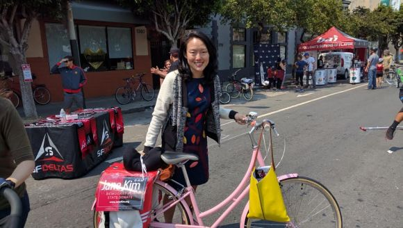 Jane Kim was out there doing some old fashioned local politicking. Photo: Streetsblog.