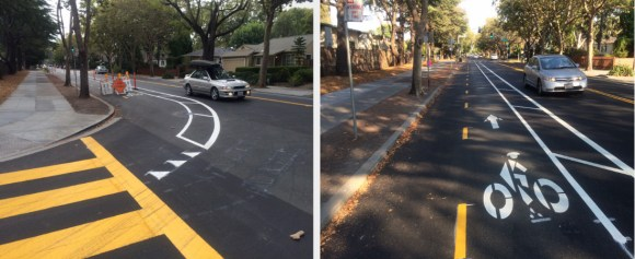 Palo Alto's new two-way separated bike lane connects two entrances to Jordan Middle School, which see major bicycle traffic on school days. Photos: Andrew Boone