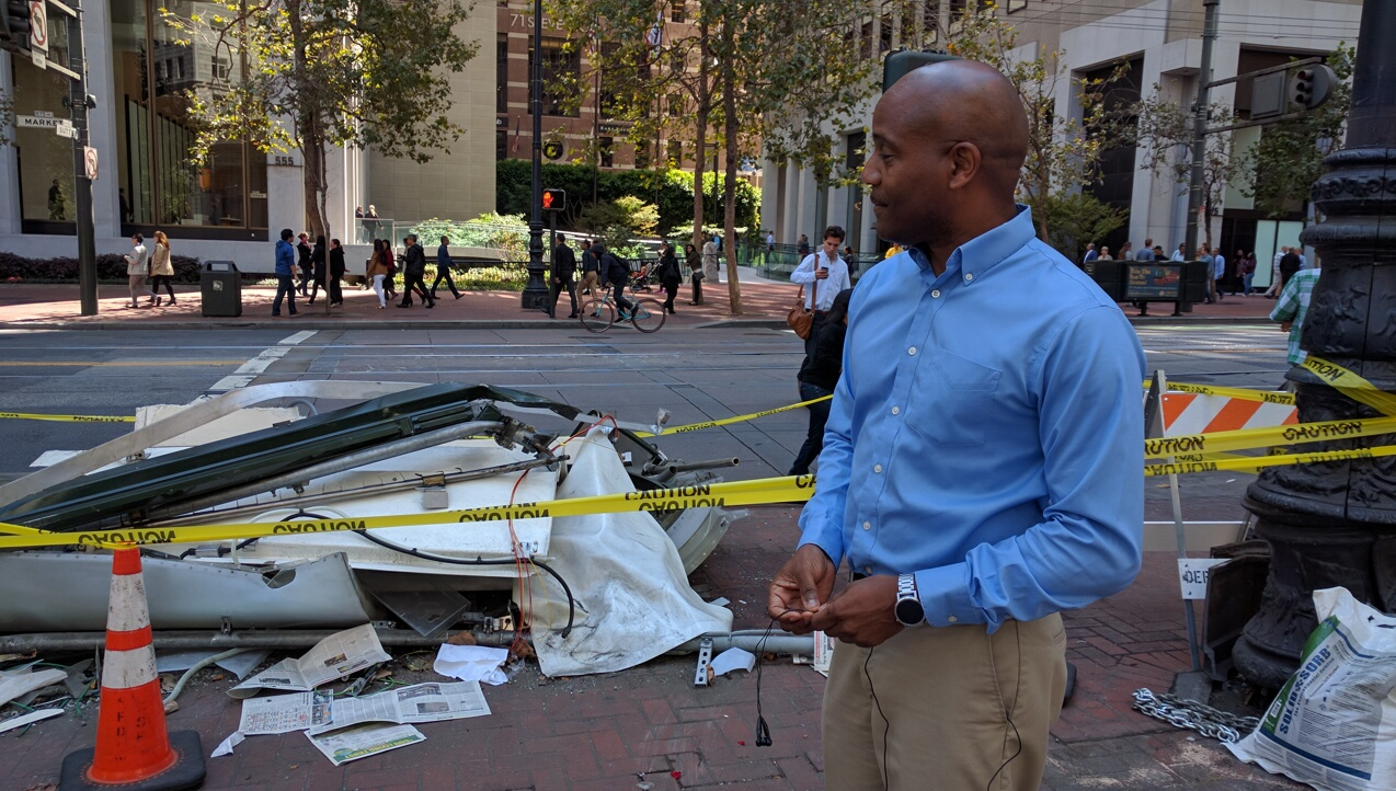 Robert Allevar, who works in the area, passed through this space shortly before a taxi crashed onto the sidewalk. Photo: Streetsblog.