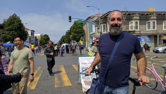 Tom Radulovich was among the many people enjoying the sunshine and open street. Photo: Streetsblog.
