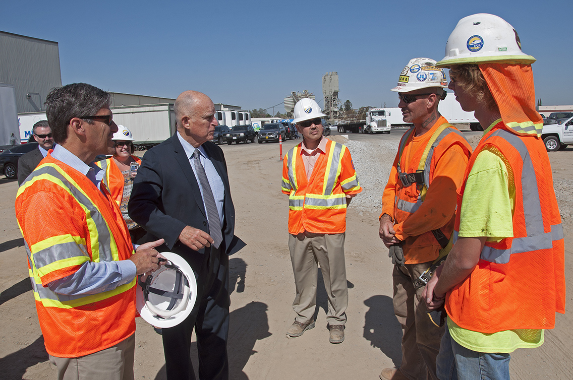 Governor Brown on a recent visit with California High-Speed Rail construction workers. Photo: CaHSRA