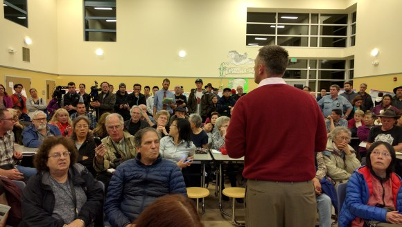 SFMTA's Sean Kennedy attempting to discuss the L-Taraval meeting with an audience that constantly interrupted and shouted over each other, during a now infamous February meeting. Photo: Streetsblog