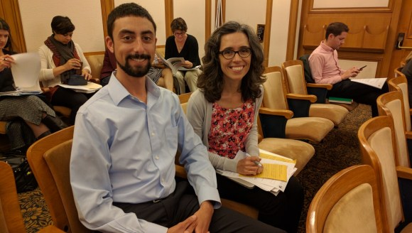James Shahamiri, an engineer with SFMTA, and Cathy DeLuca, of Walk SF at the Vision Zero Committee meeting. Photo: Streetsblog.