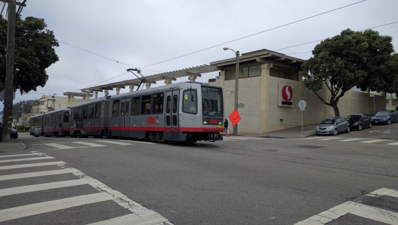 "The contentious ""Safeway Stop"" on the L-Taraval. Photo: Streetsblog"