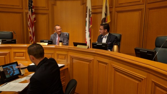 Supervisors Yee and Campos at the Vision Zero Committee of the Transportation Authority. Photo: Streetsblog