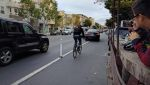 The Uber driver still blocked the bike lane, but had to pull past the end of the row of SFMTrA safe-hit posts. Photo: Streetsblog