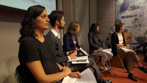 SPUR's panel. That's Ratna Amin, SPUR's transportation expert, in the foreground. Photo: Streetsblog